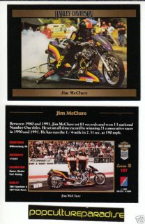 Jim McClure 1992 Harley Davidson Bike Racing Photo Card