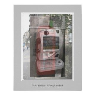 Public Telephone   Edinburgh Scotland Poster