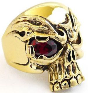 Red Ruby Fire Eye Gold Brass Ring Sz 8 New Mens Biker Jewelry