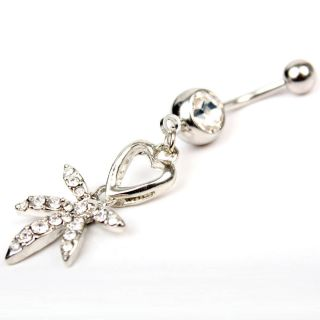 Clear Rhinestone Crystal Heart Belly Button Ring Body Jewelry