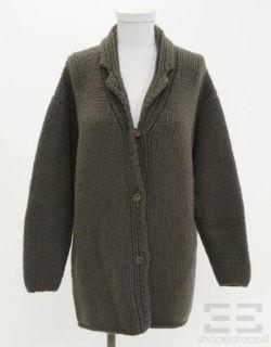 Jil Sander Olive Green Cashmere Cardigan Size 38