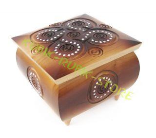 Ukrainian Handmade Wooden Inlaid Jewelry Box Jewel Case Folk Art 4 3