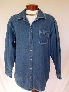JILL Oversized Sz M Slouchy Soft BLUE DENIM Long Top Big Shirt Small