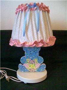 Pink Blue Floral Heart Teddy Bear Lamp Night Light Nursery Combo