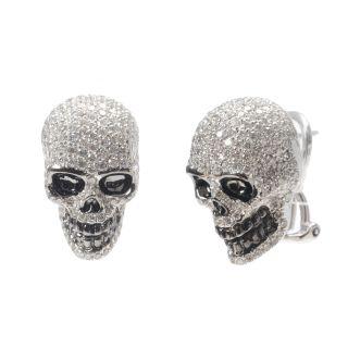 18K Solid Gold Diamond Pave Earrings Skull Hoop Jewelry