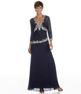 Kara Beaded Beaded Chiffon Dress Jacket Sz 14