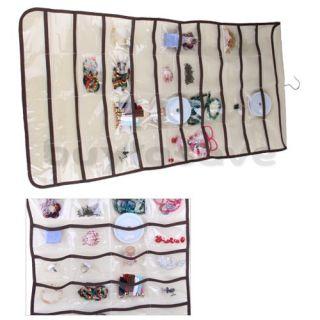 Jewelry Earrings Brooch Hanging Storage Organizer Bag 80 Pockets