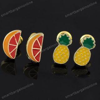 Set Colorful Enamel Fruit Pineapple & Lemon Ear Studs Earrings Jewelry
