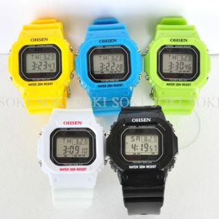 OHSEN 5 Colors Day Date Digital Mens Womens Quartz Wrist Watches W100