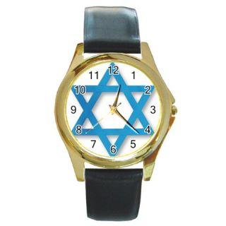 Jewish Star of David Round Gold Wrist Watch Wemens Gif