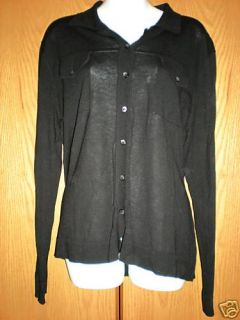 Joan Vass Retail $159 Whisper Light Black Sweater Blouse Shirt L