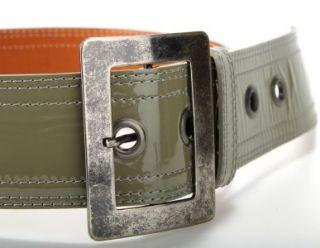 New Dries Van NOTEN Ladies Olive Gray Patent Leather Wide Cincher Belt