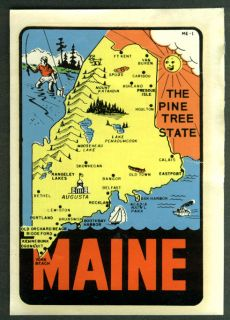 Maine The Pine Tree State Car Window Decal in Sleeve CA 1950s