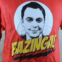 Bazinga The Big Bang Theory Sheldon Cooper Mens T Shirt Large Red