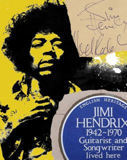 Jimi Hendrix Poster Autographs Blue Plaque Mounted Display