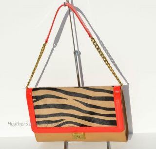 Jimmy Choo Cassie Soft Box Leather Clutch Shoulder Bag Beige Zebra