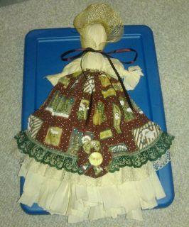 Primitive Scrap Fabric Folk Art Doll, Christmas Apron & Prairie Bonnet