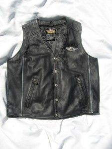 Black Leather Harley Davidson 100 Year Anniversary Vest w Patches Size
