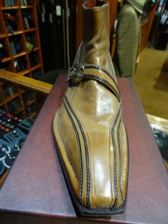 Jo Ghost Cognac Brown Monk Strap Buckle Boot Shoe Size 9 5 Retail $375