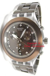 SVCK4042AG New Swatch Ladies Watch Brown Bracelet Crystals Chrono