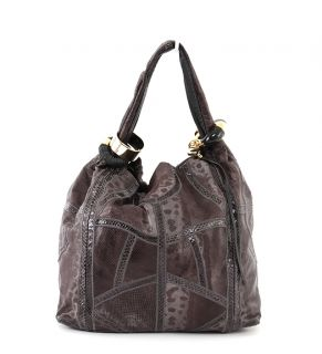 Jimmy Choo Watersnake Lizard Large Textured Saba Ring Bag Hobo