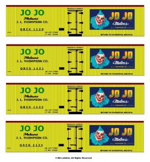Jo Jo the Clown boxcars O scale set, printed reefer sides 4 different