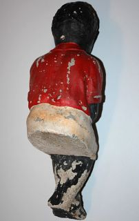 Vintage Lawn Jockey Fishing Boy w Worn Original Paint