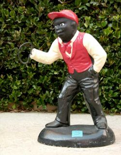 Antique & Original BLACK LAWN JOCKEY 26 Cast Iron Classic HISTORICAL