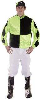 Mens Horse Racing Jockey Fancy Dress Costume Outfit XL