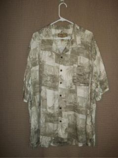 Beige Palm Tree Boat Caribbean Joe Rayon Camp Shirt 2XL XXL