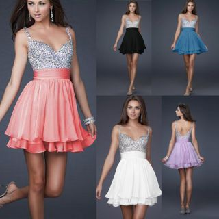 Cocktail Party Prom Gown Short Evening V Neck Strap Dress US 2 4 6 8