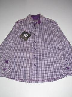English Laundry LS John Lennon Revolution Plaid Purple Shirt Button Up