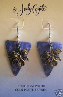 Jody Coyote Earrings JC0750 New Sterling Silver flower purple dangle