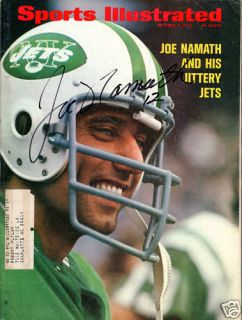Joe Namath NY Jets Signed Sports Illustrated 10 9 72 COA