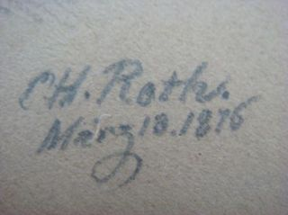 Antique Original C Roth 1875 Sketch Drawing Portrait of Bull Fighter