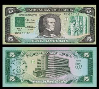 Dollars Banknote Liberia 1989 Joseph Roberts UNC