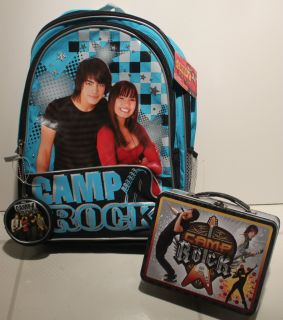 SET CAMP ROCK BACKPACK & LUNCH BOX Joe Jonas Demi Lovato Book Bag