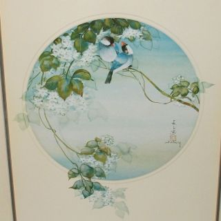 John Cheng Blue Finches in Blossom Tree Lithograph