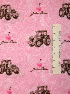Love John Deere Pink Paisley Tractor Fabric Cotton Last 5/8 Yards