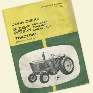 JOHN DEERE 3020 TRACTOR OPERATORS OWNERS MANUAL GAS DIESEL ROW CROP