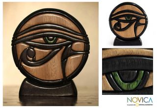 Hand Carved Wood Sculpture Eye of Horus Novica