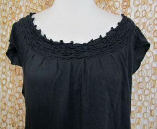 Keer Anthropologie Womens Black Pin Tucked Neckline Cap Sleeve Knit
