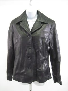 Sally John New York Black Leather Jacket Coat Sz M