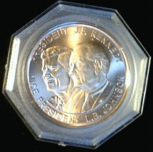 John F Kennedy L B Johnson Proof President Commemorative Bronze Token