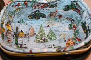 Longaberger 2009 John Deere Holiday Christmas Basket Lid Liner