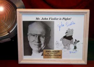 POOH Original Animation Cel, DISNEY Seal, Signed JOHN FIEDLER, Frame