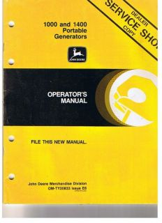 John Deere Portable Generator 1000 1400 Manual 1986