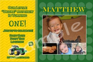 John Deere Boy Girl Personalized Birthday Invitations