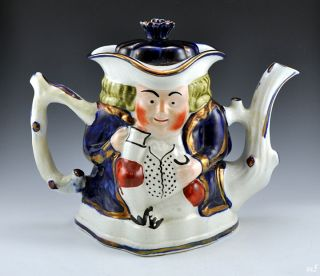 Antique Allertons John Bull Tea Pot Gilt Cobalt Blue
