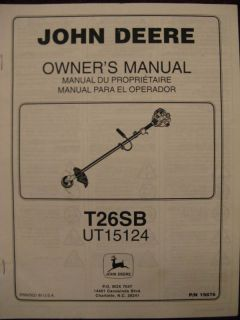 John Deere T26SB UT15124 Trimmer Operator Parts Manual